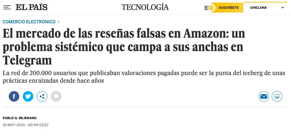 Reseñas falsas en Amazon, por Pablo G Bejerano en El País